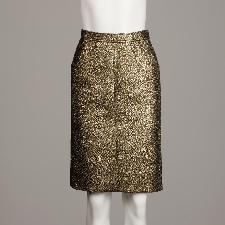 1980s Yves Saint Laurent Rive Gauche Vintage Quilted Metallic Gold Pencil Skirt For Sale 2