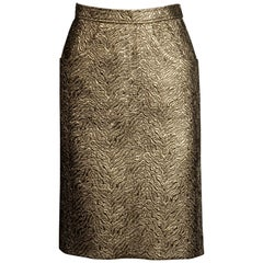 1980s Yves Saint Laurent Rive Gauche Vintage Quilted Metallic Gold Pencil Skirt