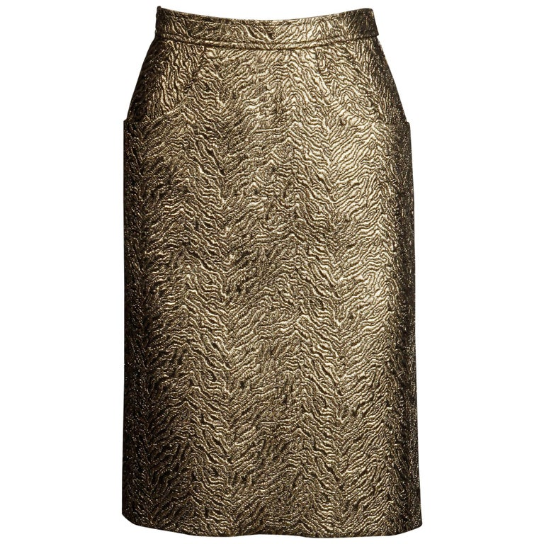 1980s Yves Saint Laurent Rive Gauche Vintage Quilted Metallic Gold Pencil Skirt For Sale