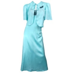 1980s Yves Saint Laurent Robins Egg Blue Vintage 80s Nightgown + Jacket Set YSL