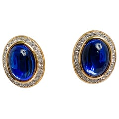 1980s Yves Saint Laurent Sapphire Blue Clip-on Earrings