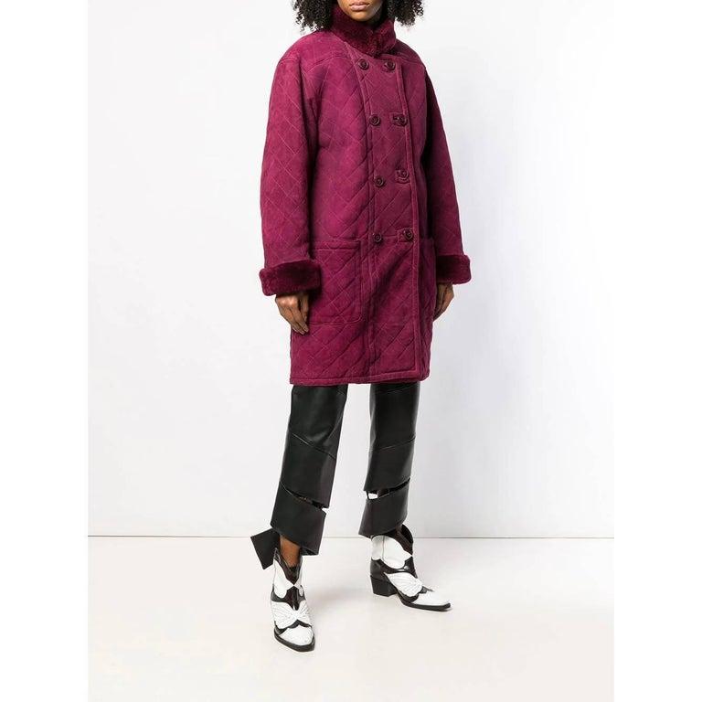 Red 1980s Yves Saint Laurent Sheepskin Coat For Sale