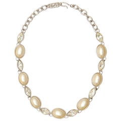 1980s Yves Saint Laurent Silver and Pearl Necklace