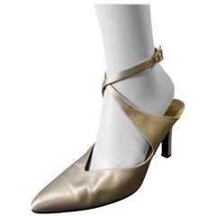 1980s Yves Saint Laurent Silver Satin Ankle-Cross Stillettos W/ Pointed Toe