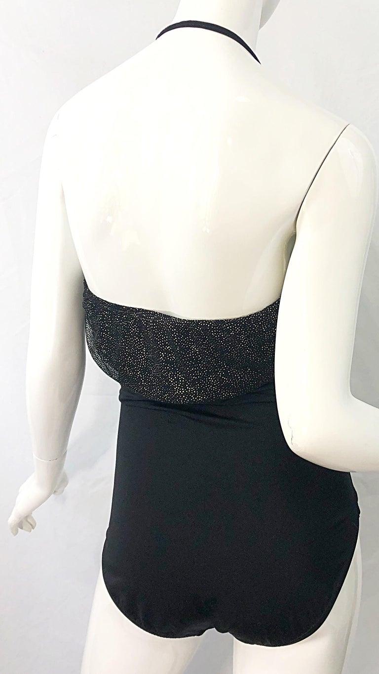 1980s Yves Saint Laurent Size 14 Black / Gold One Piece Halter Swimsuit Bodysuit For Sale 9