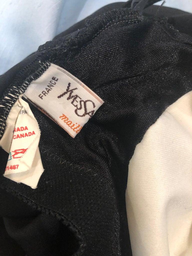 1980s Yves Saint Laurent Size 14 Black / Gold One Piece Halter Swimsuit Bodysuit For Sale 11