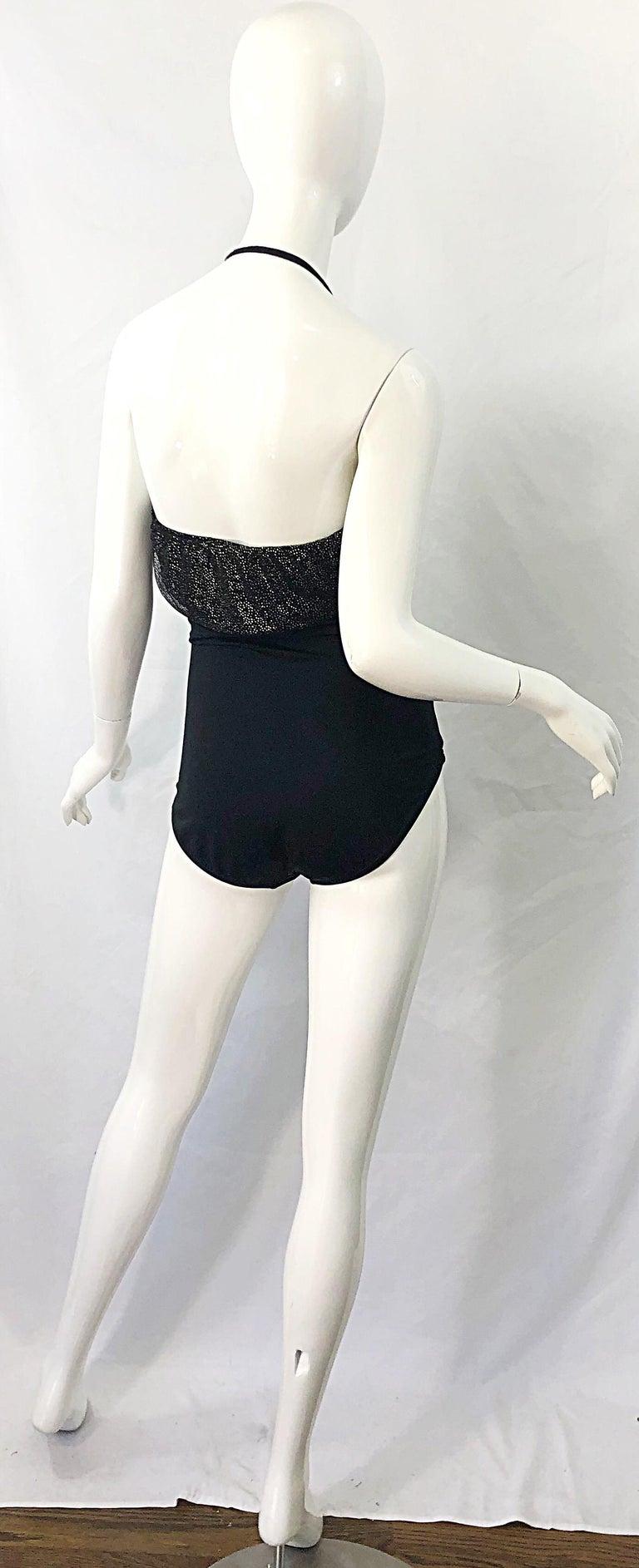 1980s Yves Saint Laurent Size 14 Black / Gold One Piece Halter Swimsuit Bodysuit For Sale 3