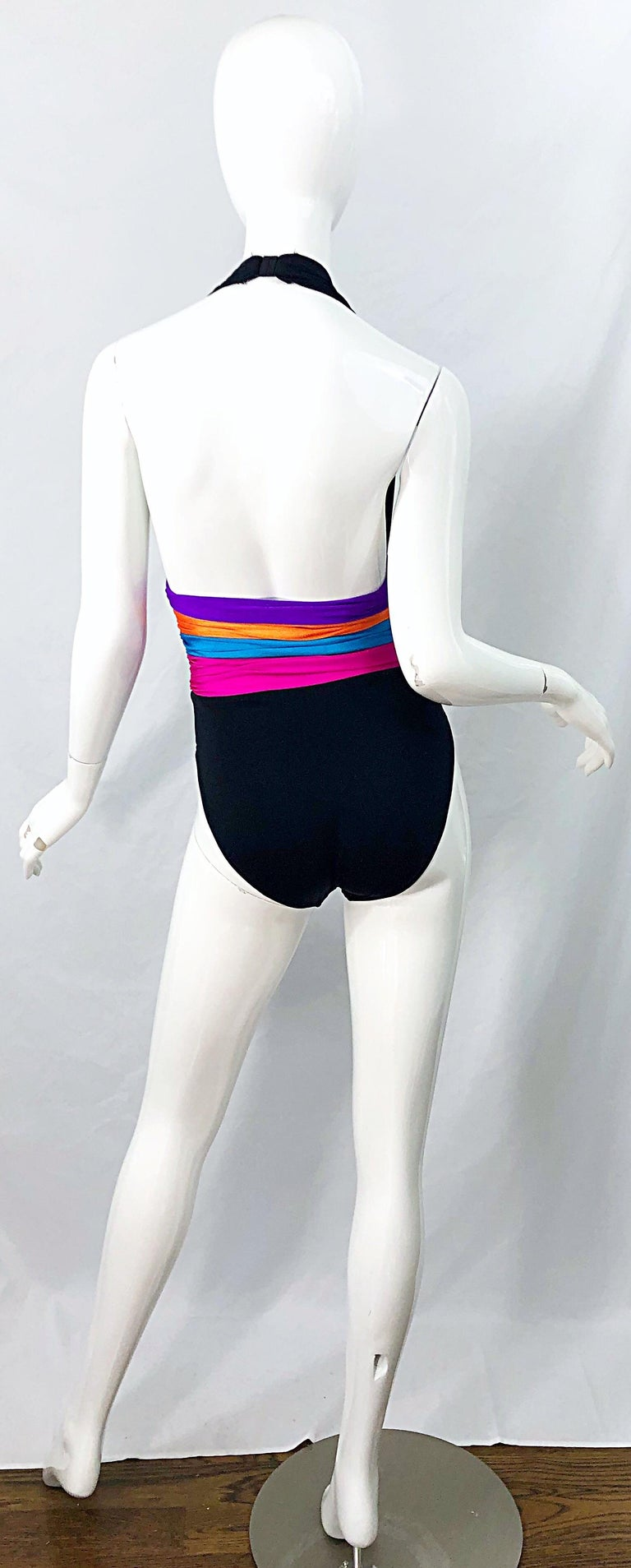 1980s Yves Saint Laurent Size 8 Plunging Halter One Piece 80s Bodysuit Swimsuit For Sale 7