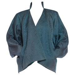 1980S YVES SAINT LAURENT Teal Haute Couture Silk Matelassé Oversized Batwing Sl