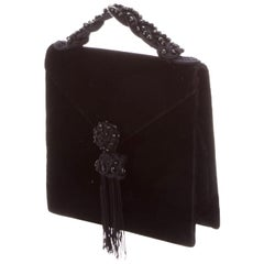 1980s Yves Saint Laurent Velvet Bag with Tassel and Top Handle