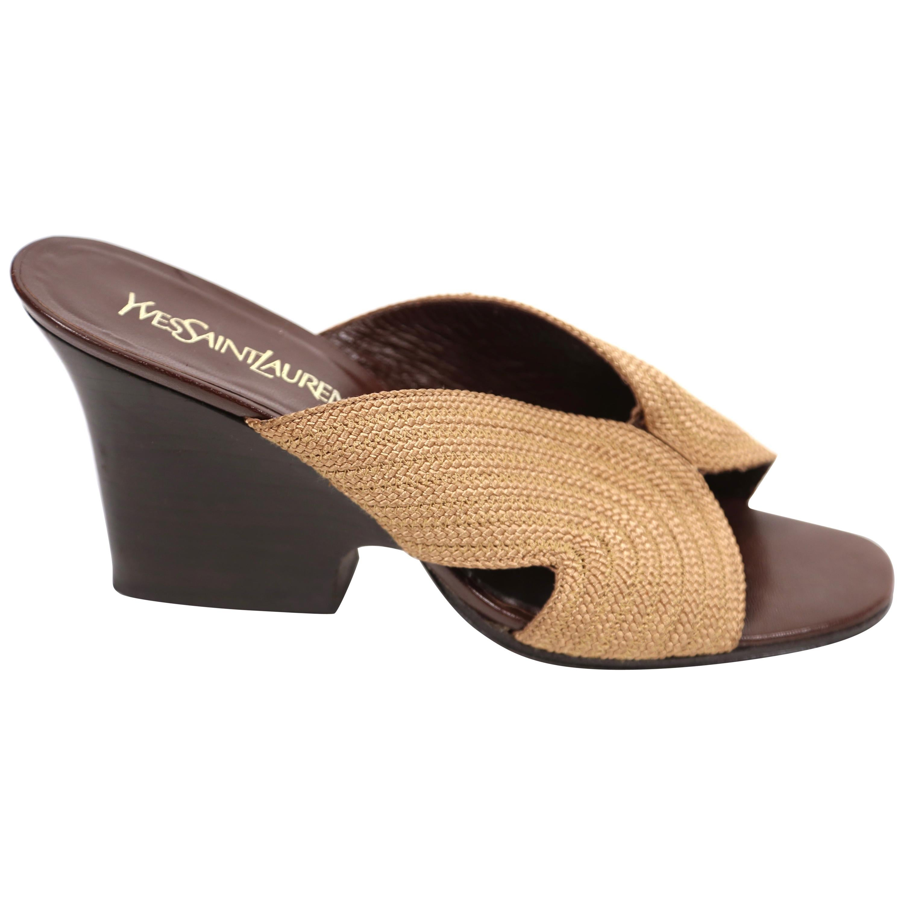 1980's YVES SAINT LAURENT woven sandals with sculpted heels - 10