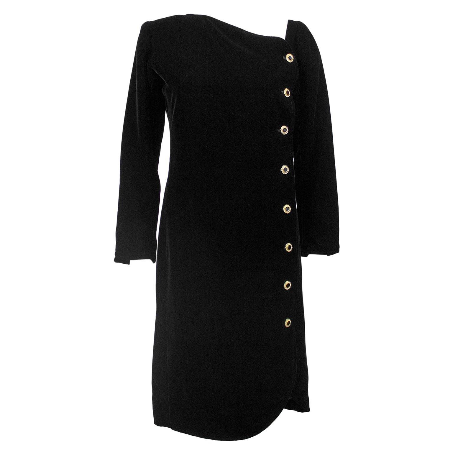 1980s Yves Saint Laurent/YSL Black Cocktail Dress