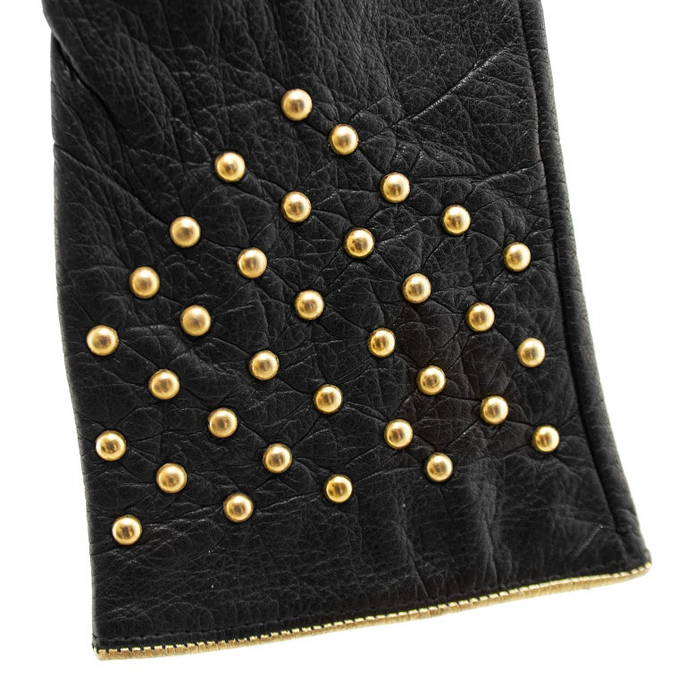 1980s Yves Saint Laurent/YSL Black Leather Gloves with Gold Studs In Good Condition For Sale In Toronto, Ontario