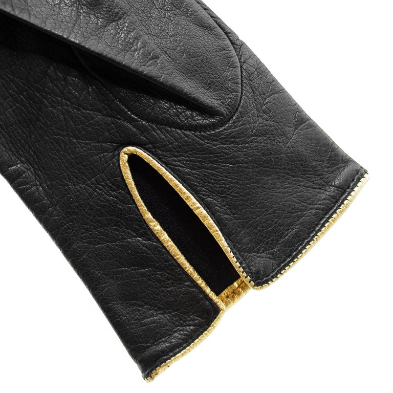 Women's 1980s Yves Saint Laurent/YSL Black Leather Gloves with Gold Studs For Sale