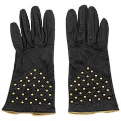 1980s Yves Saint Laurent/YSL Black Leather Gloves with Gold Studs