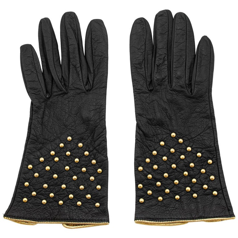 1980s Yves Saint Laurent/YSL Black Leather Gloves with Gold Studs For Sale