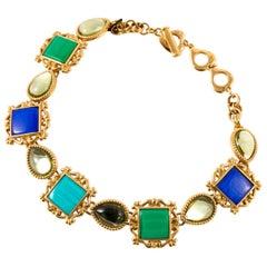 1980s Yves Saint Laurent  YSL Gold Tone Multicolor Stones Necklace