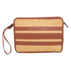 1980s Yves Saint Laurent/YSL Leather and Canvas Clutch