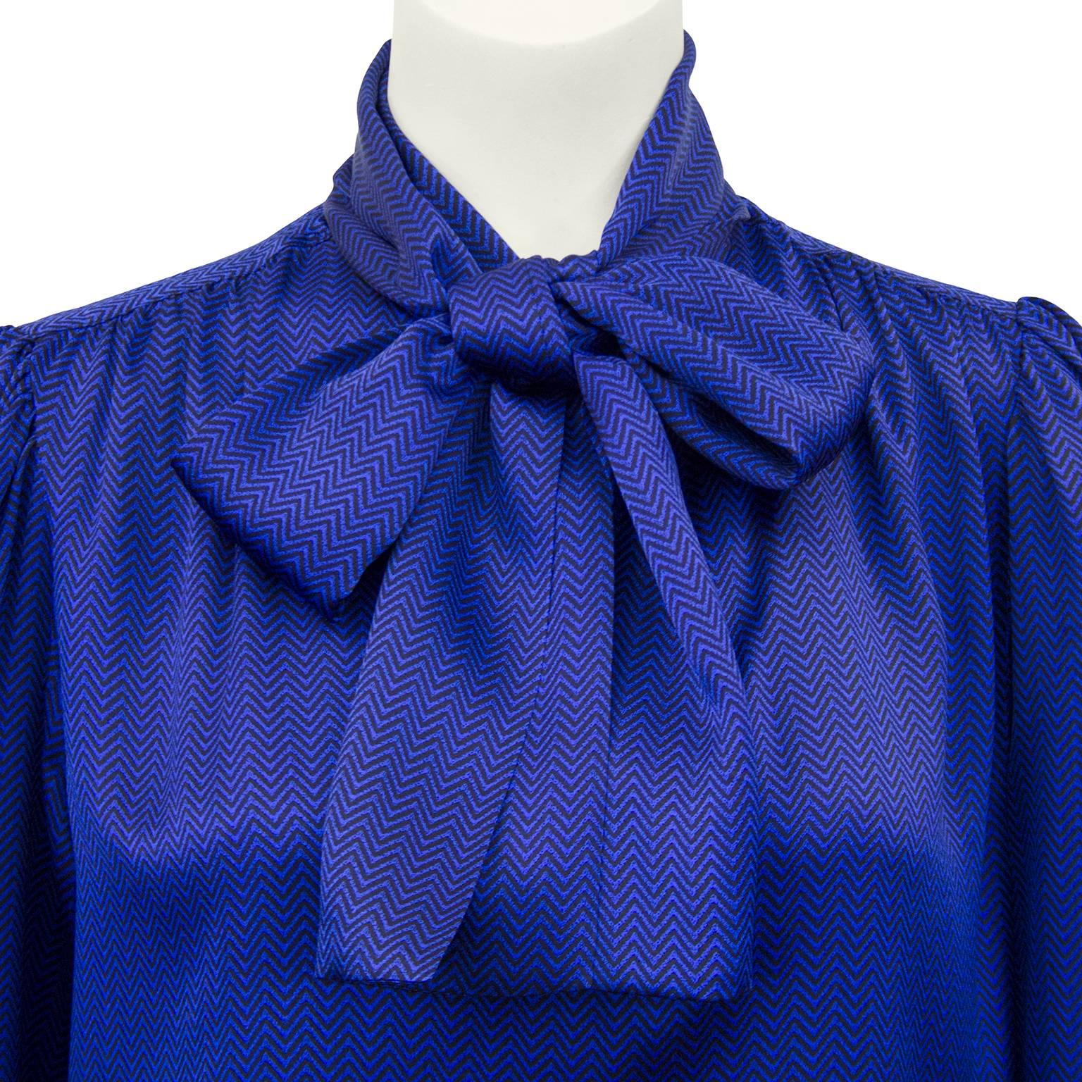 3326fa827829ca Yves Saint Laurent YSL Blue and Black Chevron Printed Silk Pussybow Blouse