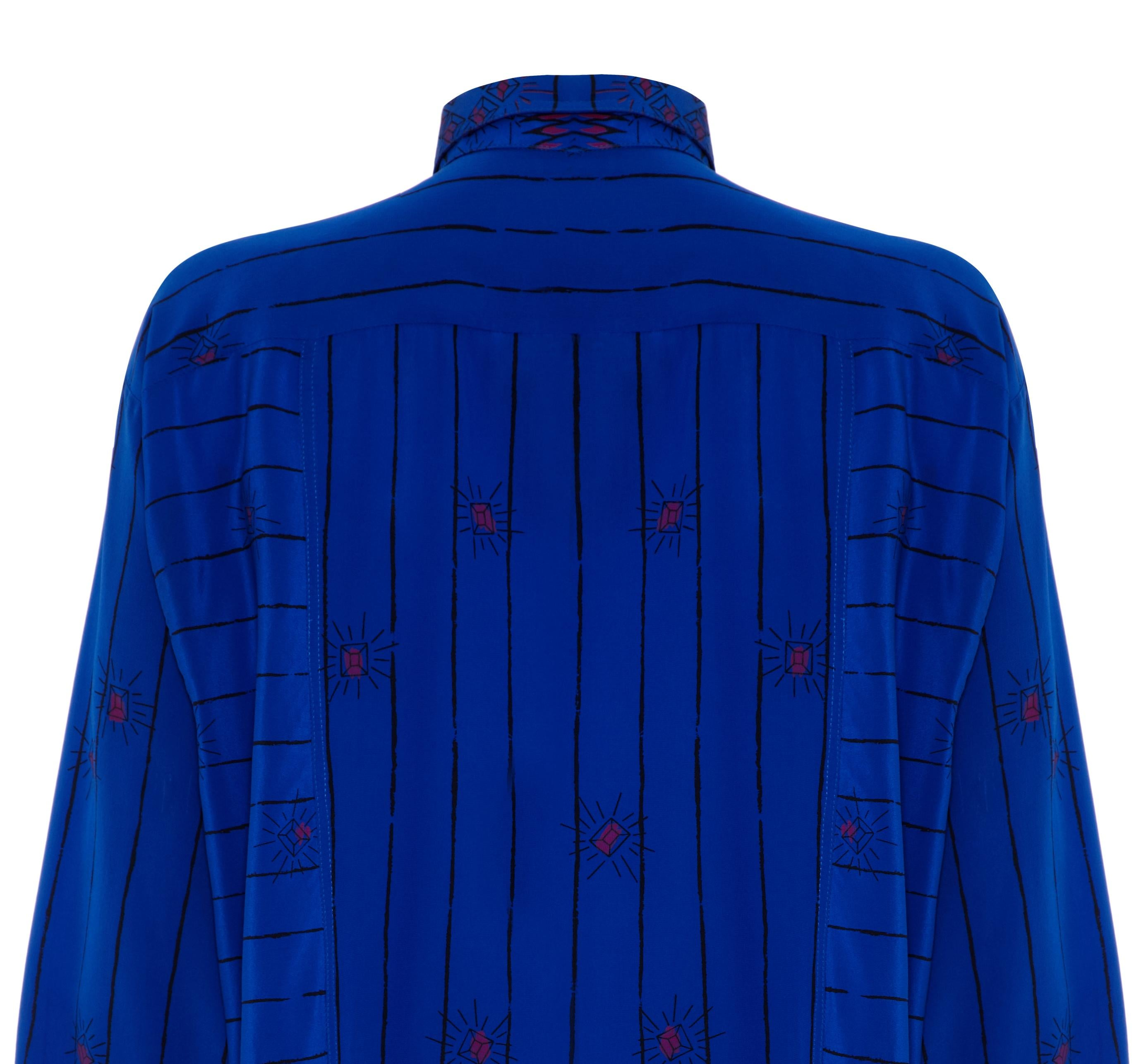 783381c29f99d 1980 s Zandra Rhodes Oversized Blue Silk Print and Embellished Shirt For Sale  at 1stdibs