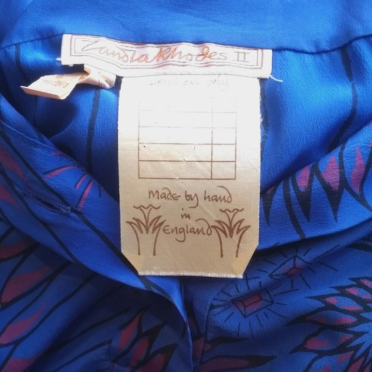 3cfd0ae73be14 1980 s Zandra Rhodes Oversized Blue Silk Print   Embellished Shirt For Sale  1