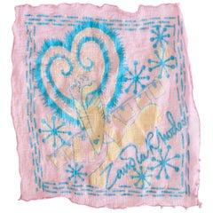 1980s Zandra Rhodes Painted Pastel Silk Hanky