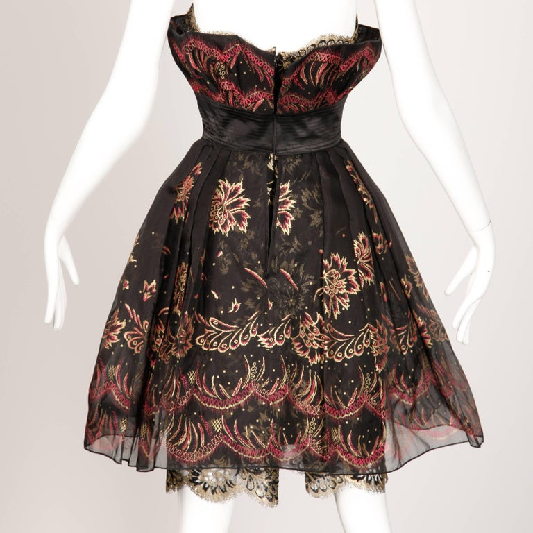 1980s Zandra Rhodes Vintage Hand-Painted Metallic Gold + Pink Black Silk Dress In Excellent Condition For Sale In Sparks, NV