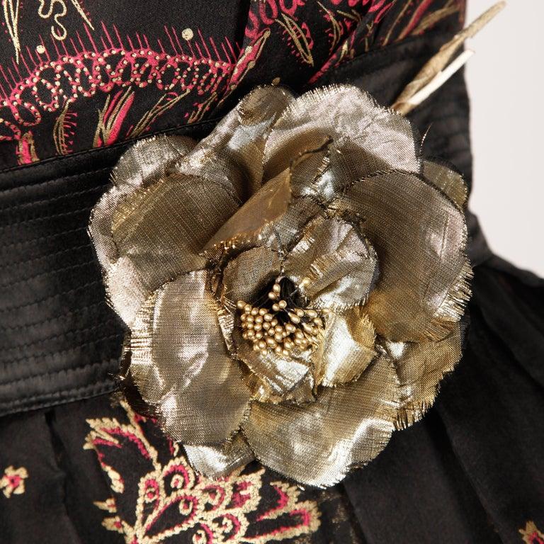 Women's 1980s Zandra Rhodes Vintage Hand-Painted Metallic Gold + Pink Black Silk Dress For Sale