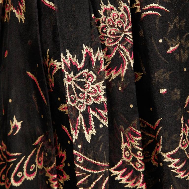 1980s Zandra Rhodes Vintage Hand-Painted Metallic Gold + Pink Black Silk Dress For Sale 1