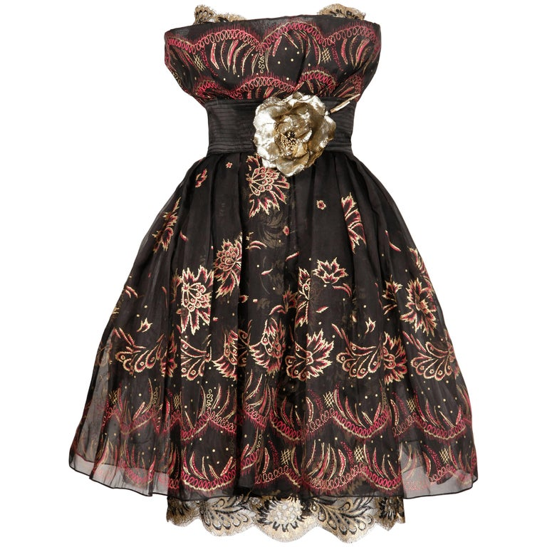 1980s Zandra Rhodes Vintage Hand-Painted Metallic Gold + Pink Black Silk Dress For Sale 3