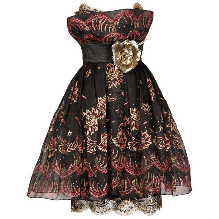 1980s Zandra Rhodes Vintage Hand-Painted Metallic Gold + Pink Black Silk Dress For Sale