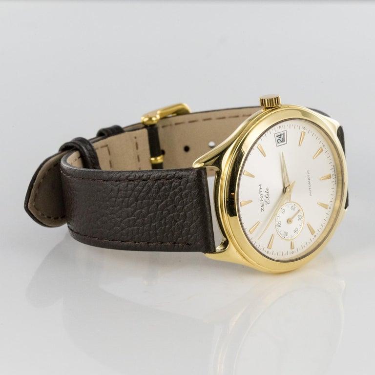 1980s Zenith Elite Automatic 18 Karat Yellow Gold Wristwatch For Sale 7