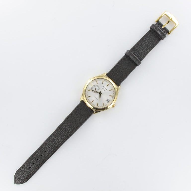 1980s Zenith Elite Automatic 18 Karat Yellow Gold Wristwatch For Sale 9