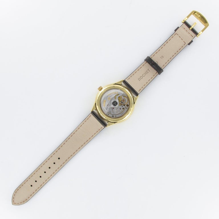 1980s Zenith Elite Automatic 18 Karat Yellow Gold Wristwatch For Sale 10