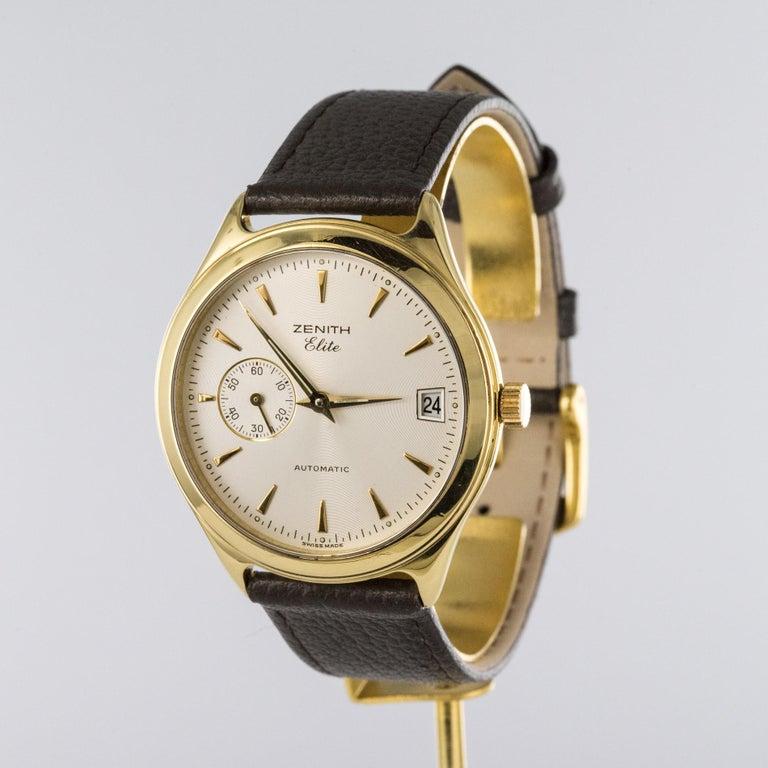 Modern 1980s Zenith Elite Automatic 18 Karat Yellow Gold Wristwatch For Sale