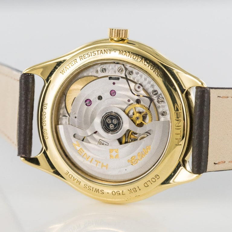 Women's 1980s Zenith Elite Automatic 18 Karat Yellow Gold Wristwatch For Sale
