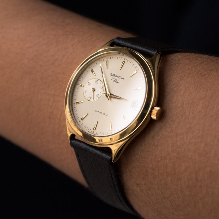 1980s Zenith Elite Automatic 18 Karat Yellow Gold Wristwatch For Sale 1