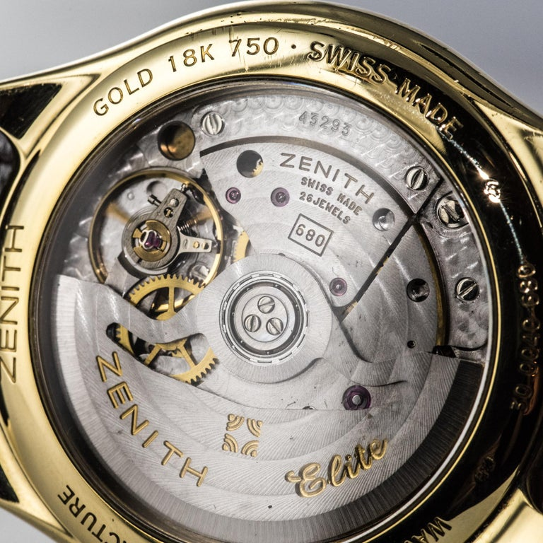 1980s Zenith Elite Automatic 18 Karat Yellow Gold Wristwatch For Sale 2