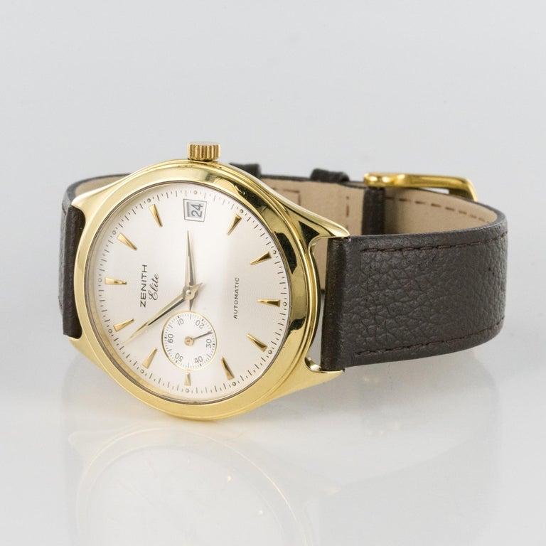 1980s Zenith Elite Automatic 18 Karat Yellow Gold Wristwatch For Sale 4