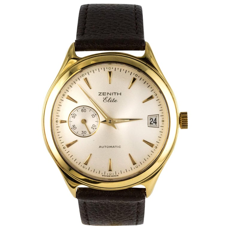 1980s Zenith Elite Automatic 18 Karat Yellow Gold Wristwatch For Sale