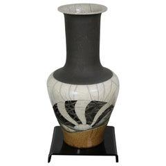 1981 Bill Herb Dimensional Raku Pottery Mantel Vase Modern Abstract Reticulated