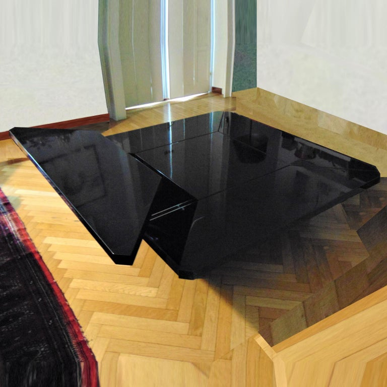 Lacquered 1981 Fabrizio Cocchia Black Glossy Lacquer Coffee Dining Table, Sormani, Italy For Sale