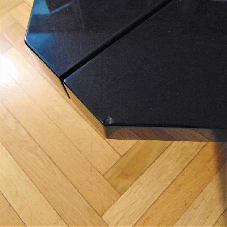 Steel 1981 Fabrizio Cocchia Black Glossy Lacquer Coffee Dining Table, Sormani, Italy For Sale