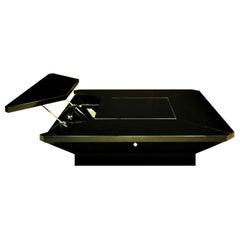 1981 Fabrizio Cocchia Black Glossy Lacquer Coffee Dining Table, Sormani, Italy