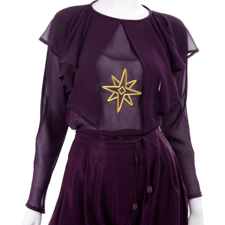 1981 Gianni Versace Vintage Purple Silk & Wool Jodhpurs & Star Chiffon Top For Sale 6