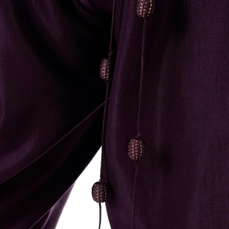1981 Gianni Versace Vintage Purple Silk & Wool Jodhpurs & Star Chiffon Top For Sale 10