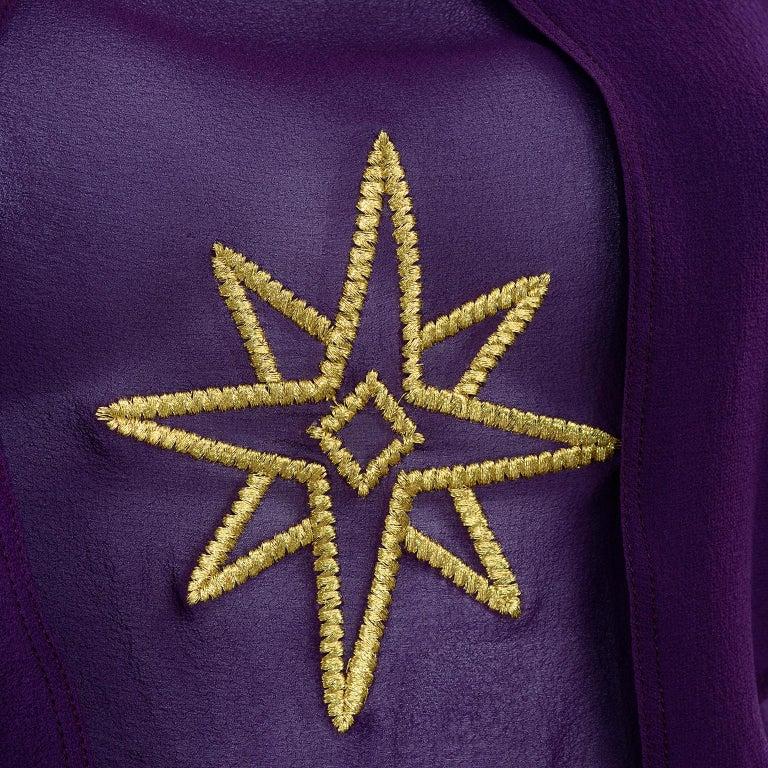 1981 Gianni Versace Vintage Purple Silk & Wool Jodhpurs & Star Chiffon Top For Sale 11