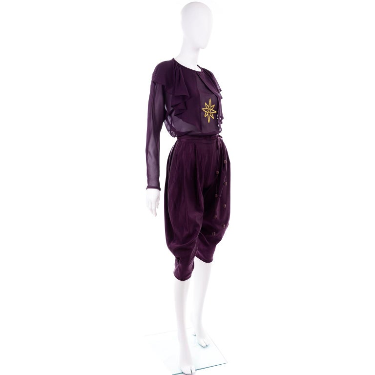 1981 Gianni Versace Vintage Purple Silk & Wool Jodhpurs & Star Chiffon Top In Excellent Condition For Sale In Portland, OR