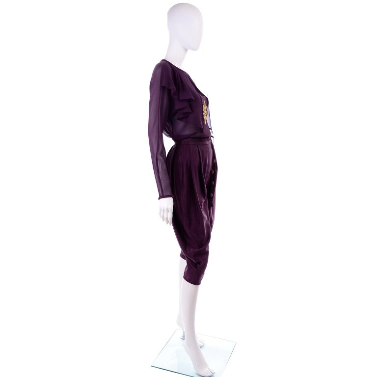 Women's 1981 Gianni Versace Vintage Purple Silk & Wool Jodhpurs & Star Chiffon Top For Sale