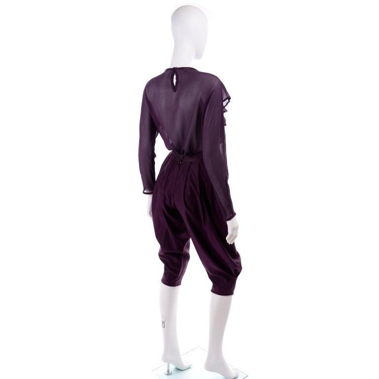 1981 Gianni Versace Vintage Purple Silk & Wool Jodhpurs & Star Chiffon Top For Sale 1